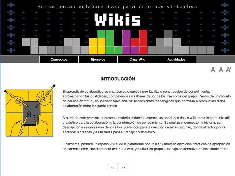 Detalle de Wikis. Herramientas colaborativas para entornos virtuales