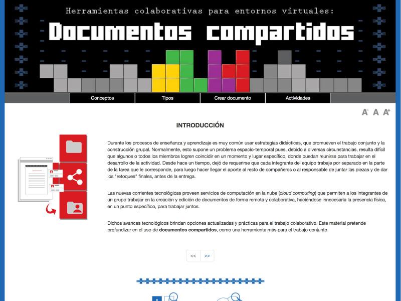 Detalle de Documentos compartidos. Herramientas colaborativas para entornos virtuales